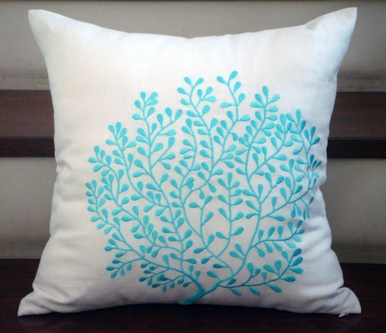 Sky Blue Coral Accent Pillow Cover, White Cushion Cover, Linen ...