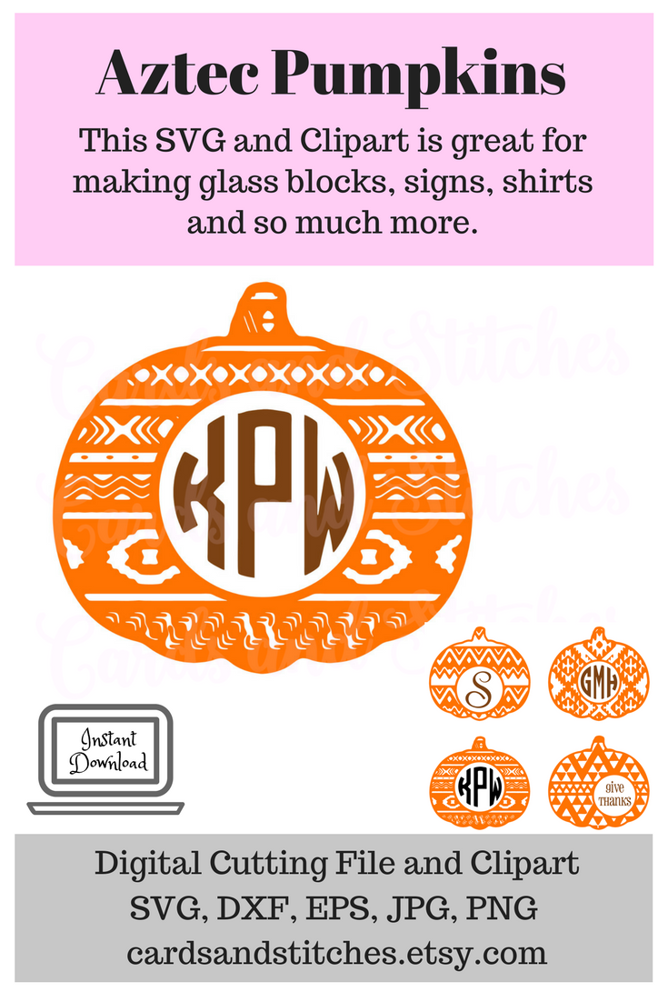 18+ Aztec And Polka Dot Pattern Pumpkin – Monogram Design Set – Svg, Dxf, Eps – Cutting Files Crafter Files