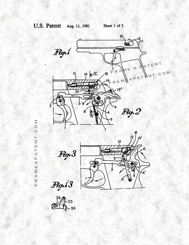 Safety For An Automatic Pistol Patent Print