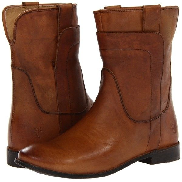 Frye Paige Short Riding (Camel Smooth Vintage Leather) Women's Pull-on.