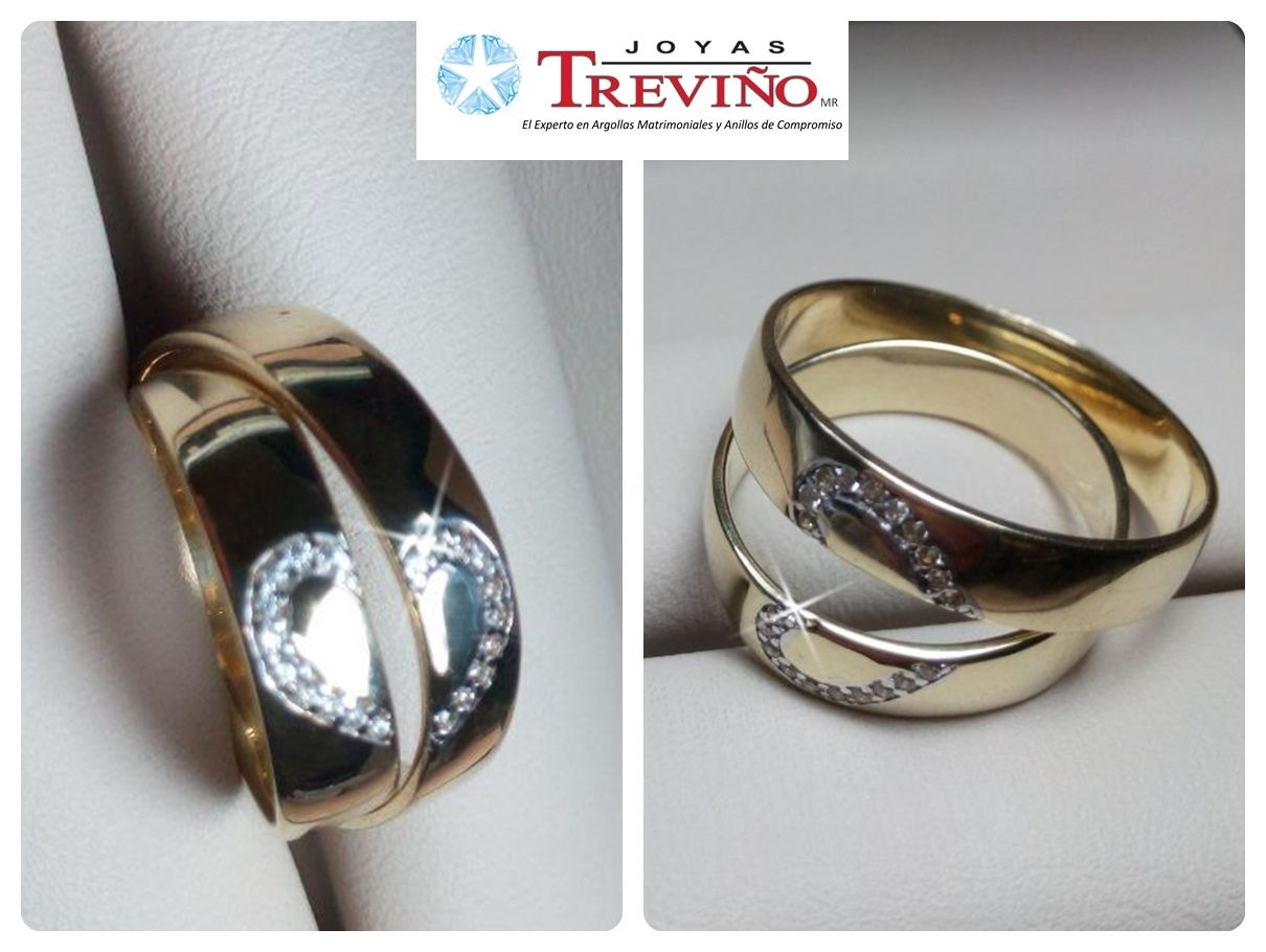 312cd0be7f67 Argollas Matrimoniales 5mm en oro amarillo 10K o 14K con zirconias Diseño  especial Joyas Treviño