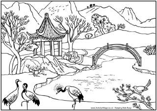 Chinese Landscape Colouring Page With Pond Storks Mountains And