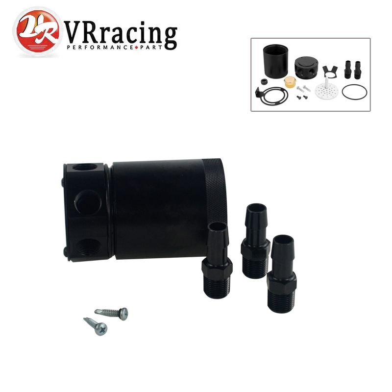Vr Racing New Racing Baffled 3 Port Oil Catch Can Tank Air Oil Separator Vr Tk66 Auto Replacement Parts Racing