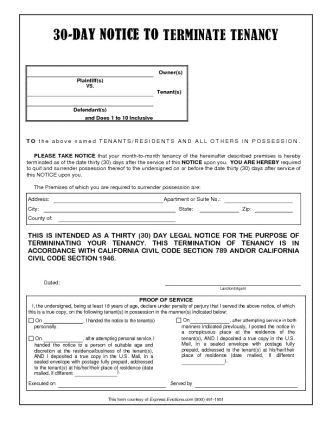 30 DAY EVICTION NOTICE, CALFORNIA 30- DAY NOTICE TO TERMINATE - eviction notices template