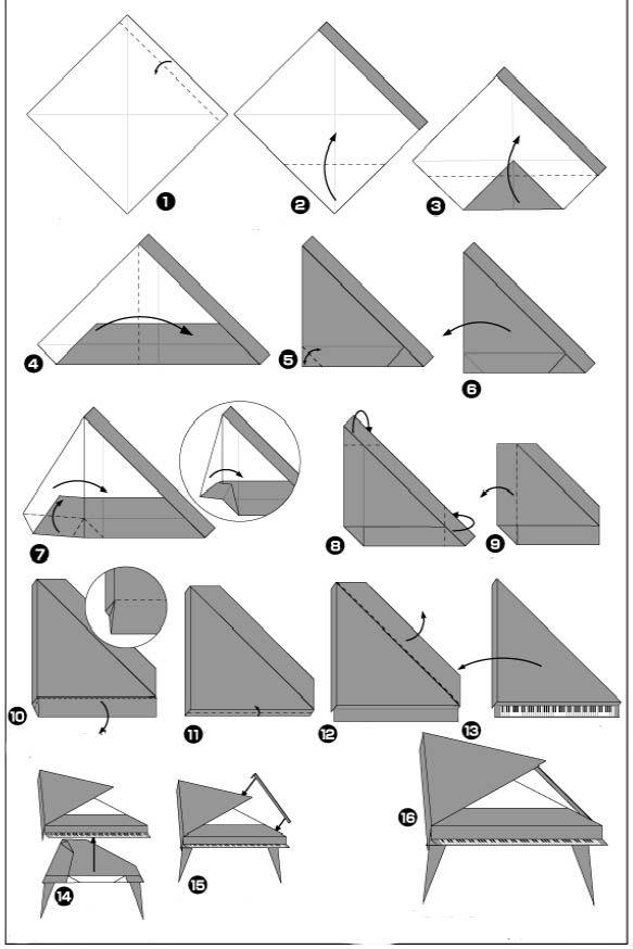 origami piano paper papier pinterest origami