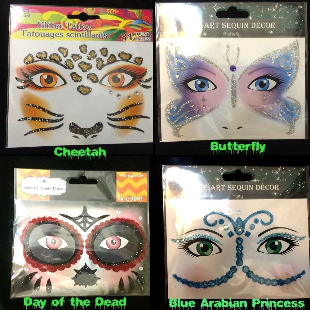 8db4ac489 Face Art Glitter TEMPORARY TATTOOS Costume Instant Makeup Eye Decal-CHOOSE  STYLE #wwwHORRORHALLcom