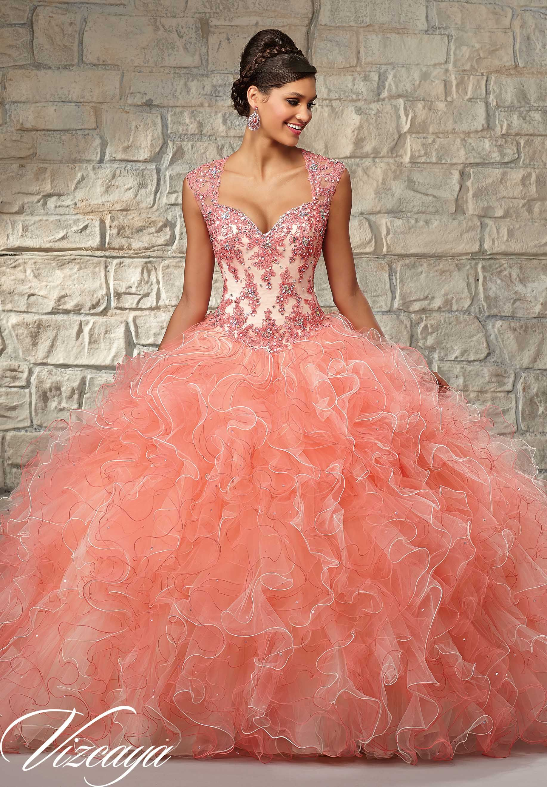 8a1591f5024 89029 Quinceanera Gowns Contrasting Lace Appliques on Ruffled Tulle with  Beading.