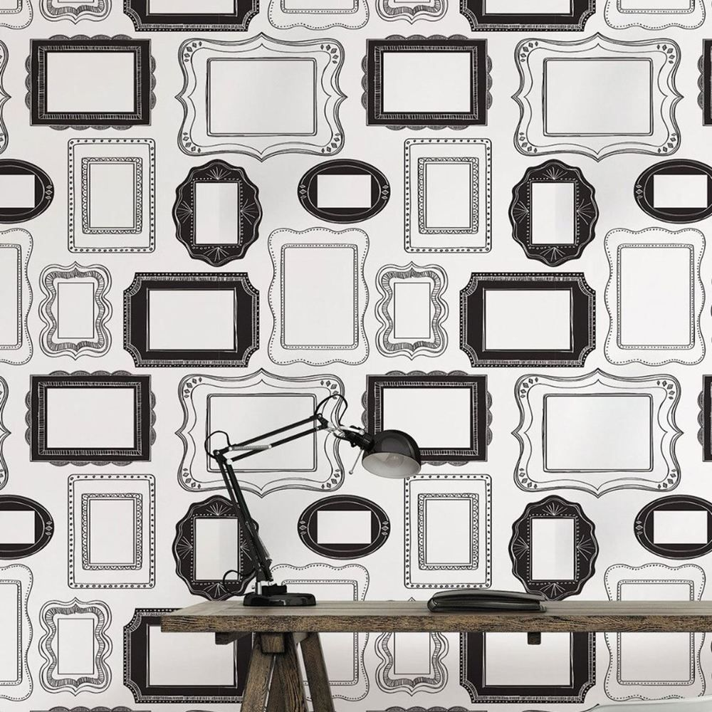 Nuwallpaper Photo Opp Frames Black White Peel And Stick Wallpaper Feature Wall Framed Wallpaper Feature Wall Wallpaper Wallpaper For Sale