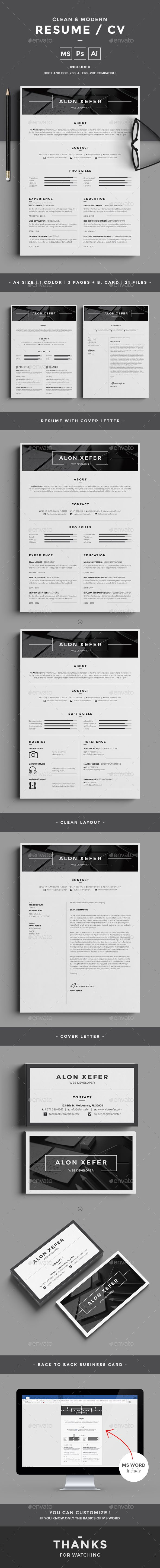 Resume Template PSD, Vector EPS, AI Illustrator, MS Word | Graphic ...