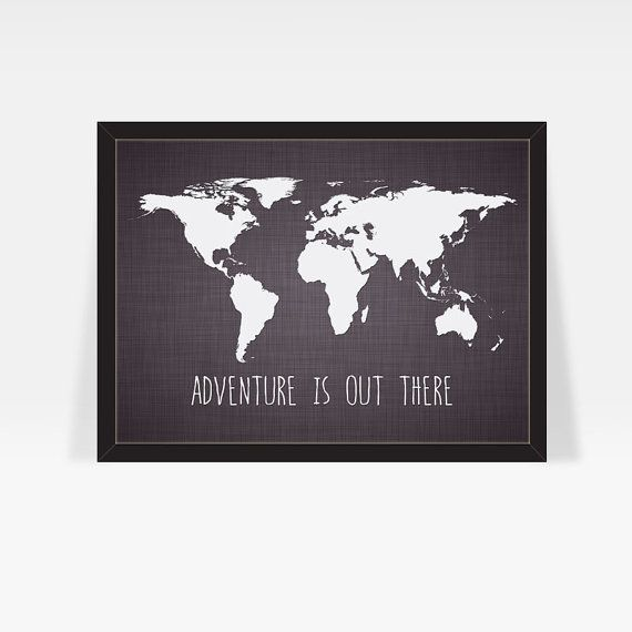 Large World Map Print w/ Famous Travel Quote - home decor print ...
