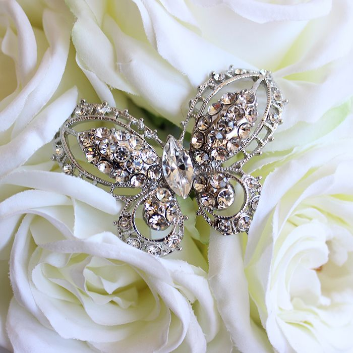 Bouquet Jewel Butterfly in White   Afloral.com - Satisfaction Guaranteed