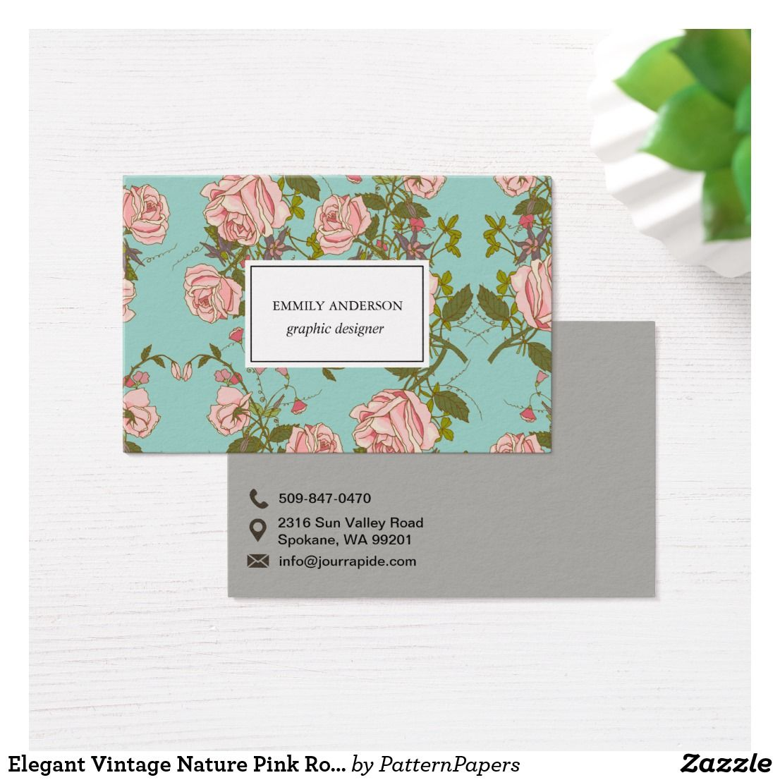 Elegant Vintage Nature Pink Roses Beautiful Flower Business Card ...