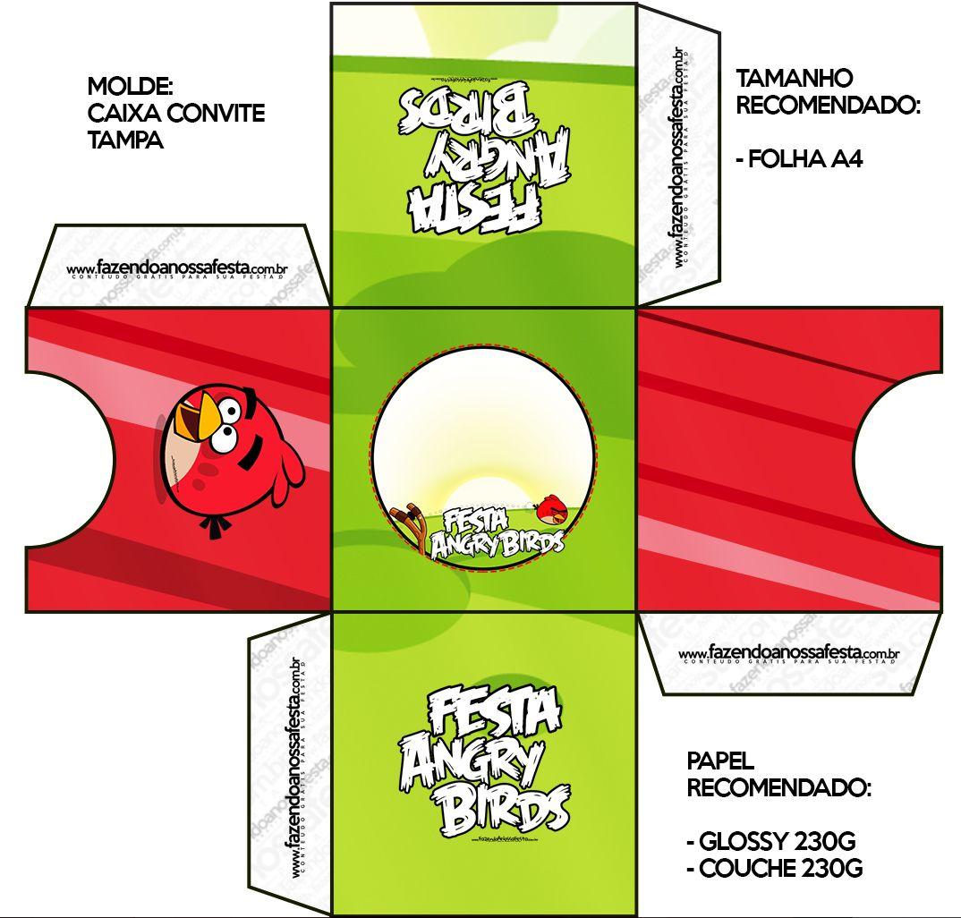 Convite Caixa Tampa Angry Birds