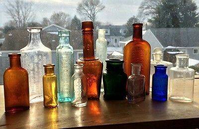Antique Colored Medicine Bottle Lot+All Different+Great Embossed Variety  $75.00