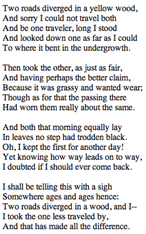 The Road Not Taken (1915) - Robert Frost. My favorite poem from ...