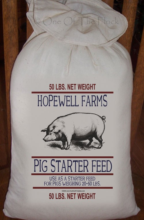 Primitive Feed Sack Hopewell Farms Pig Starter by