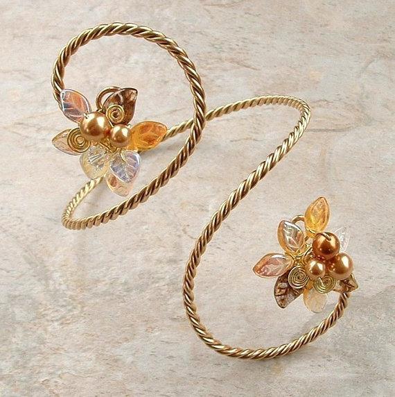 Art Nouveau Gold Arm Band Bracelet Elven Arm Cuff Fairy Arm Band