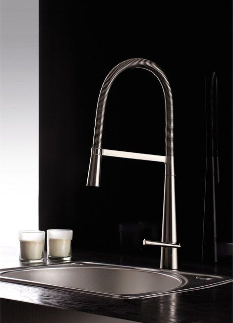Nickel Pullout Spray Kitchen Faucet Contemporary Contemporary Delectable Designer Kitchen Faucet Design Decoration