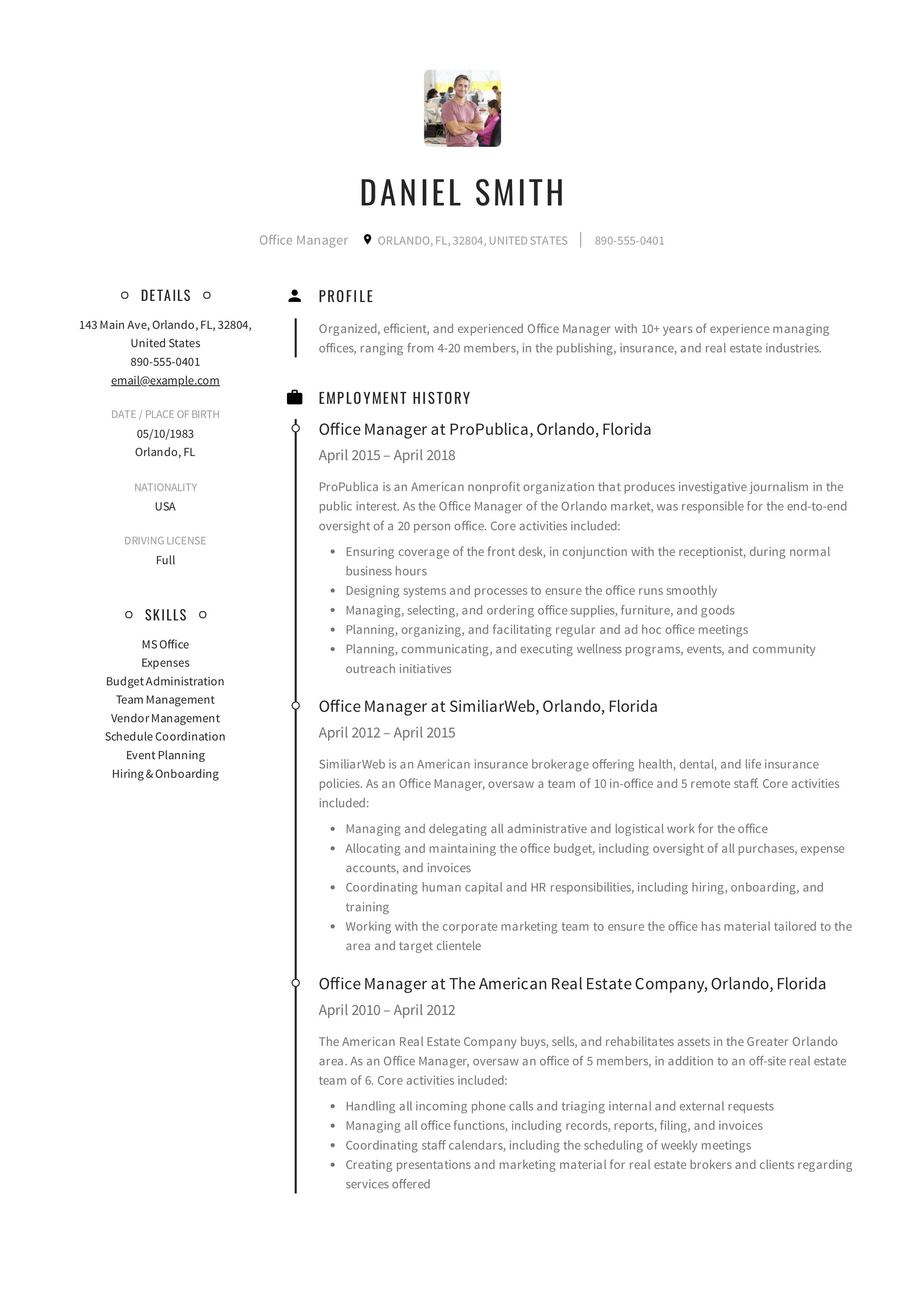 Free Office Manager Resume Sample Template Example Cv Formal Design Resume Examples Office Manager Resume Office Manager Job Description