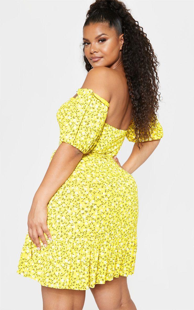 57440d7e2 Plus Yellow Ditsy Print Bardot Frill Hem Skater Dress in 2019 ...