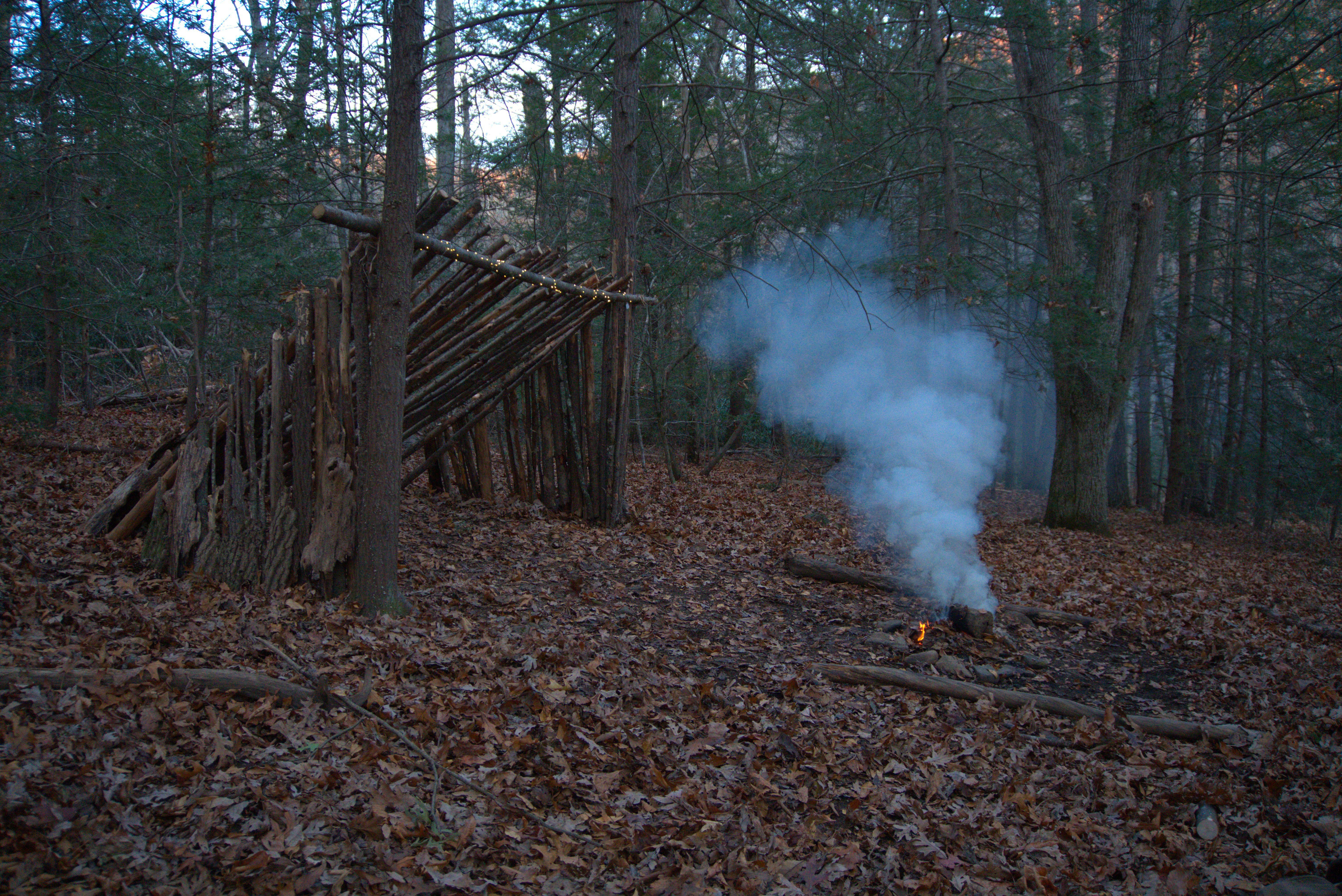 Bushcraft setup in the wilderness near Asheville, North