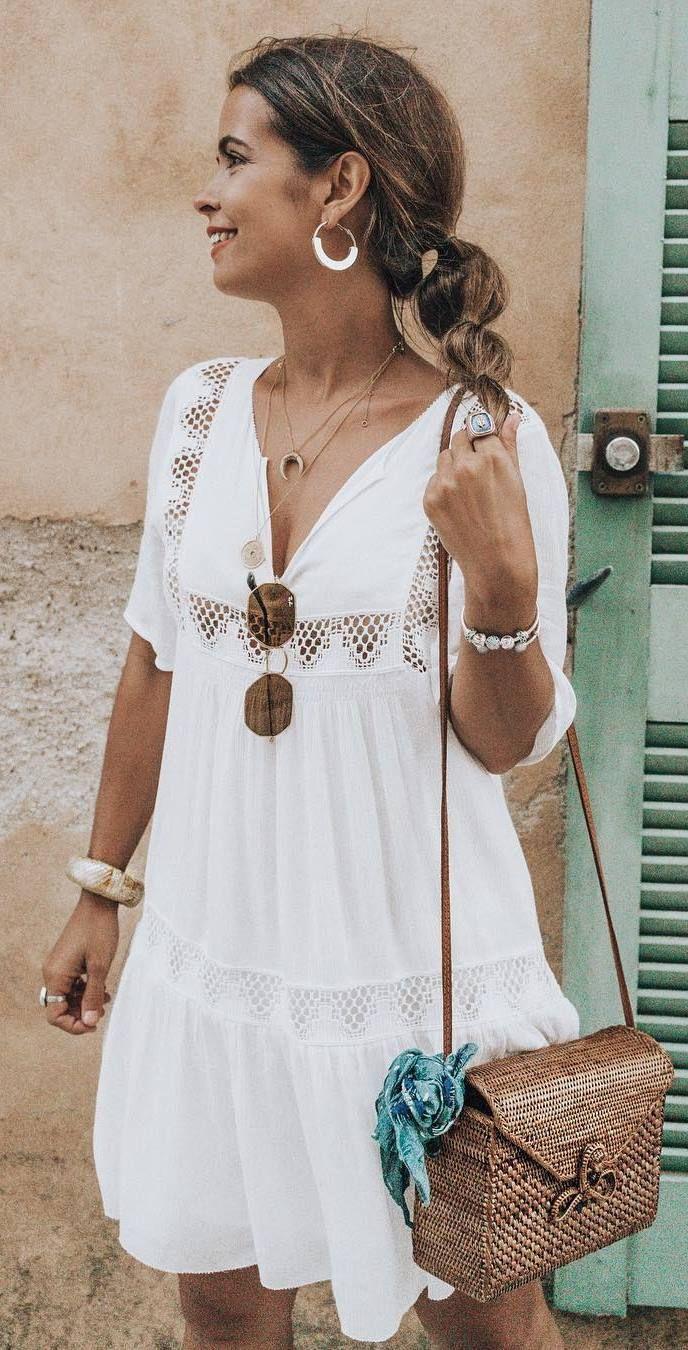 Simple outfit idea summer white dress cute accessories summer