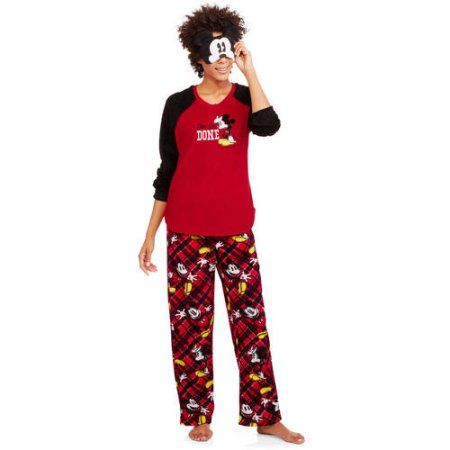 Mickey Mouse Women s License Pajama Plush Fleece Sleep Top and Pant 2 Piece  Giftable Sleepwear Set d1c1da20b