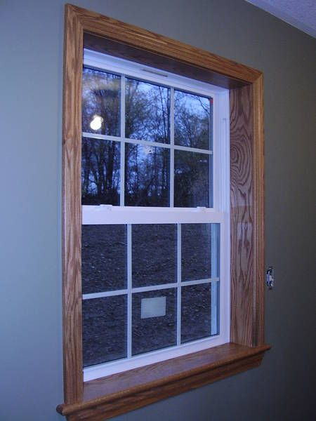 Images of oak trim here is oak trim with white vinyl for Vinyl windows and doors