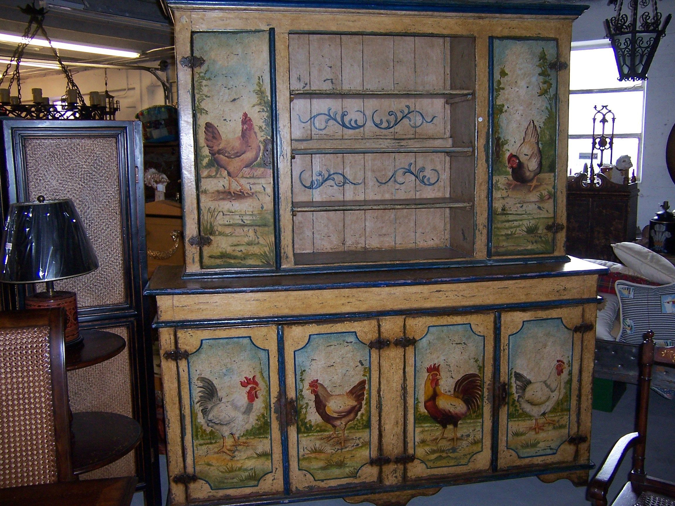 painted rooster hutch roosters pinterest paint furniture