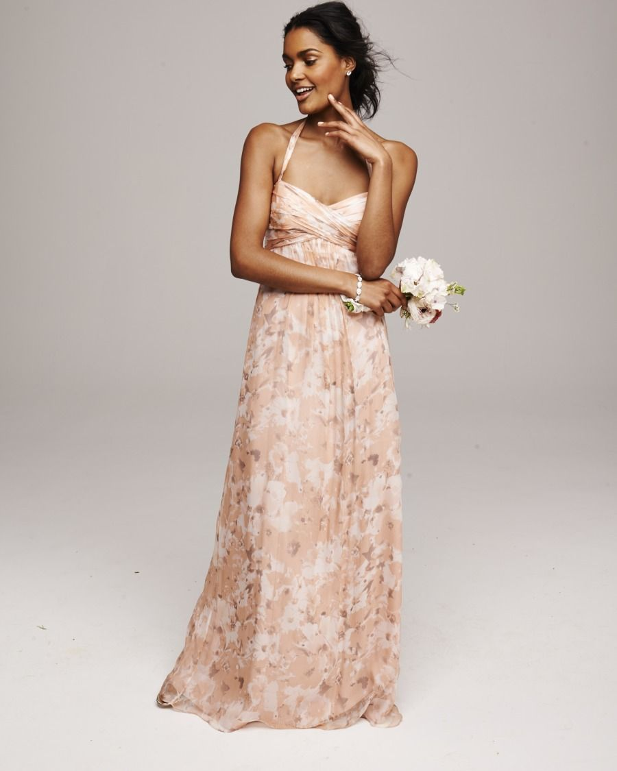 Amsale printed bridesmaid dress: http://www.stylemepretty.com/2014/11/04/fall-color-crush-blush-grey/