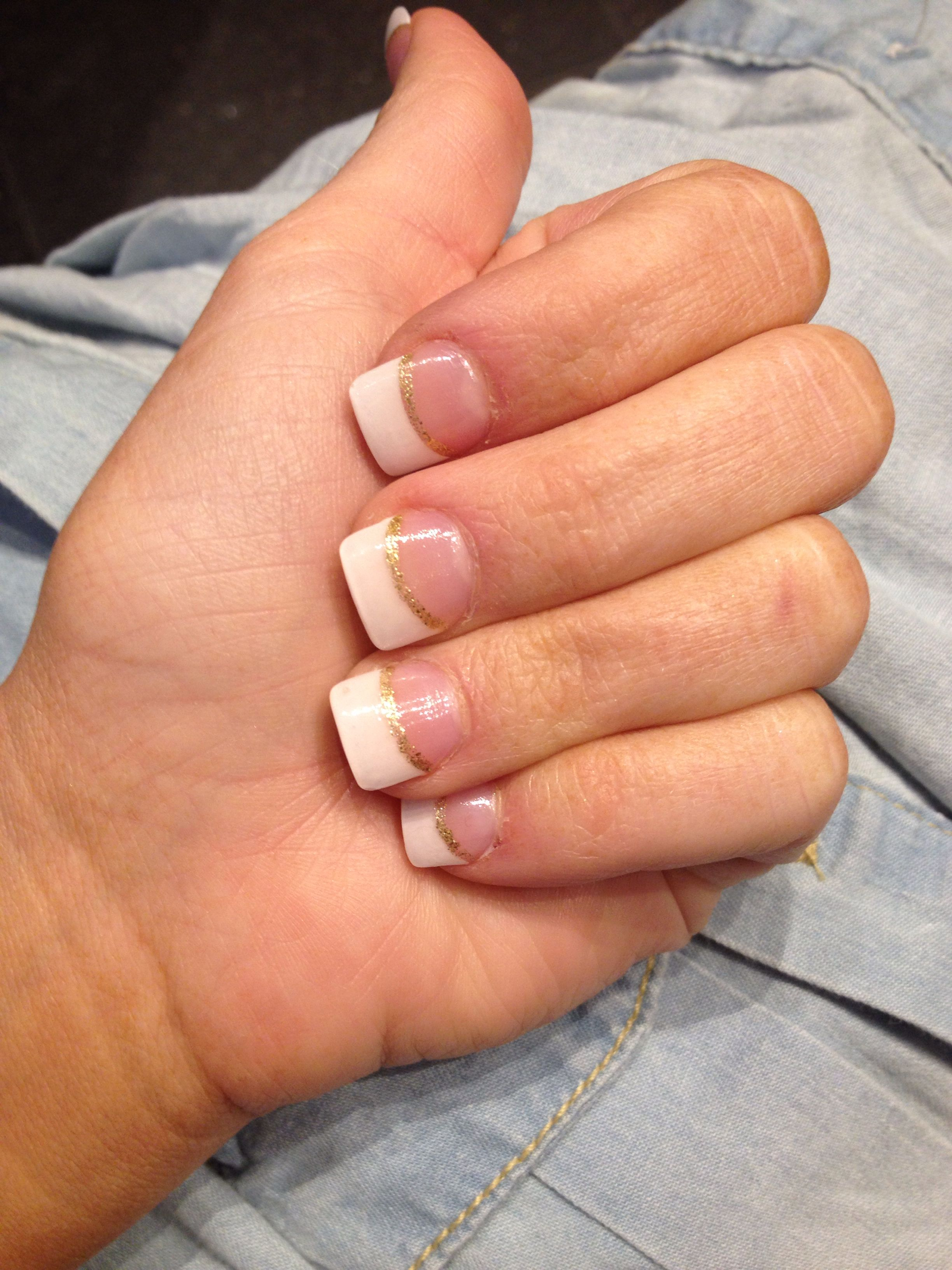 Classic French tips with gold glitter line. My NYC nails. | Fashion ...