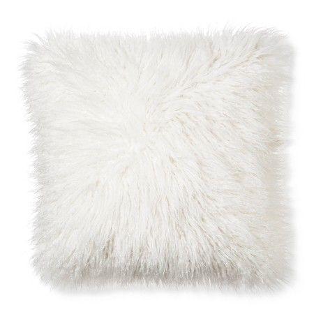 Mongolian Fur Decorative Pillow Cream Square Xhilaration Target