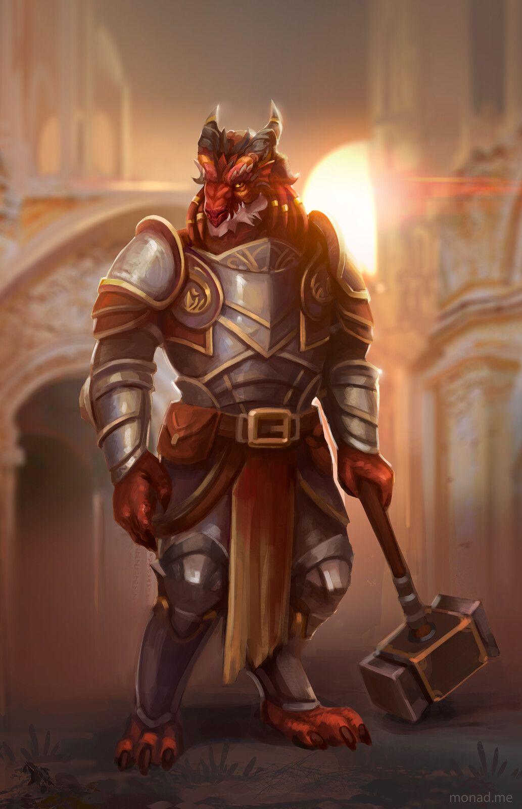 Noble Dragonborn Paladin Alizarin, Lana Monad on ArtStation at https://www.artstation.com ...