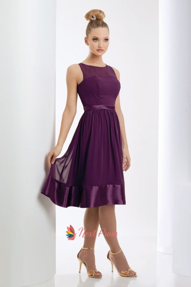 Nextprom Offers High Quality Purple Short Bridesmaid Dresses Tea Length