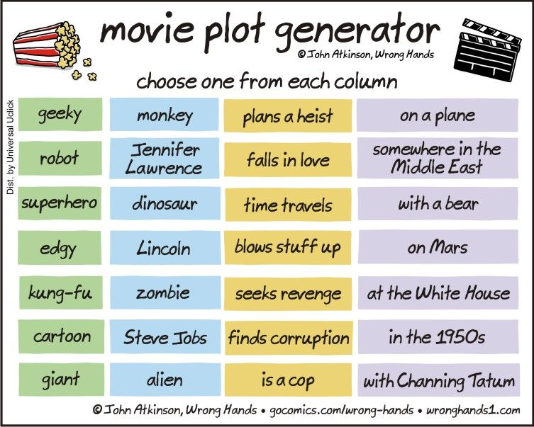 Movie Plot Generator  Choose one from each column  | Funny
