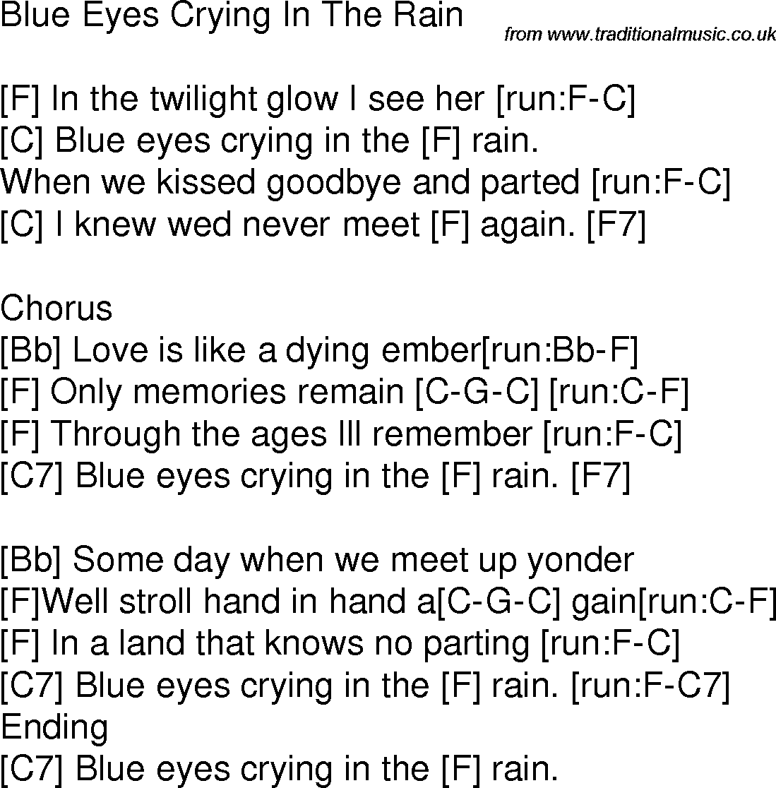 Old Time Song Lyrics With Chords For Blue Eyes Crying In The Rain F