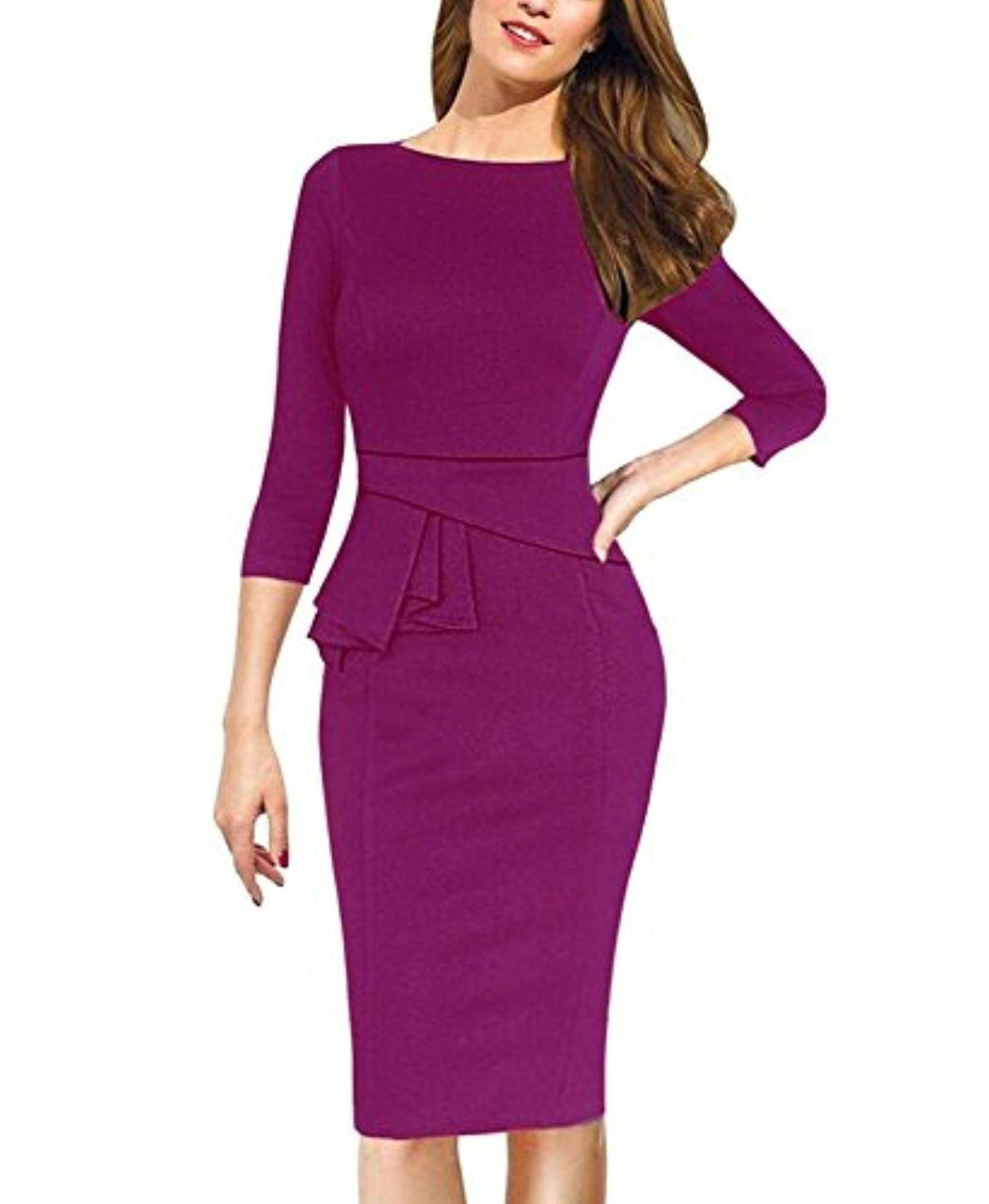 REPHYLLIS Women 3/4 Sleeve OL Business Working Casual Cocktail ...