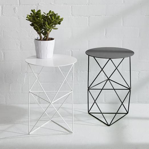 Amigo Modern Double Octahedron Pedestal Modern Side Table Decor