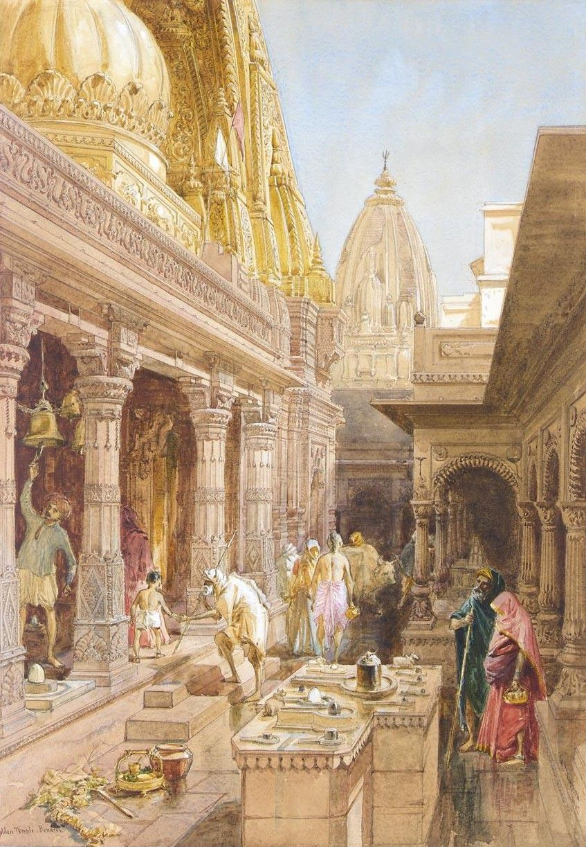 """art-and-things-of-beauty: """"William Simpson (1823-1899) -The Bisheswar or Golden Temple of Shiva, Benares, India. Pencil and watercolour, heightened with white, 52 x 36,5 cm. 1862. """""""