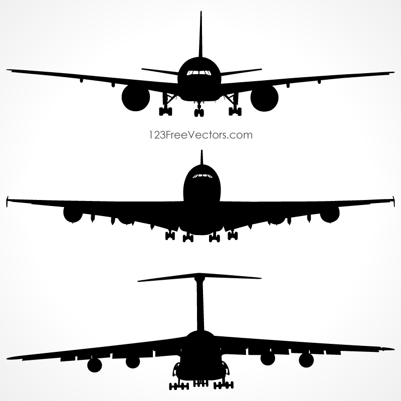 Airplanes Silhouette Front View Vector Free | create | Pinterest ...