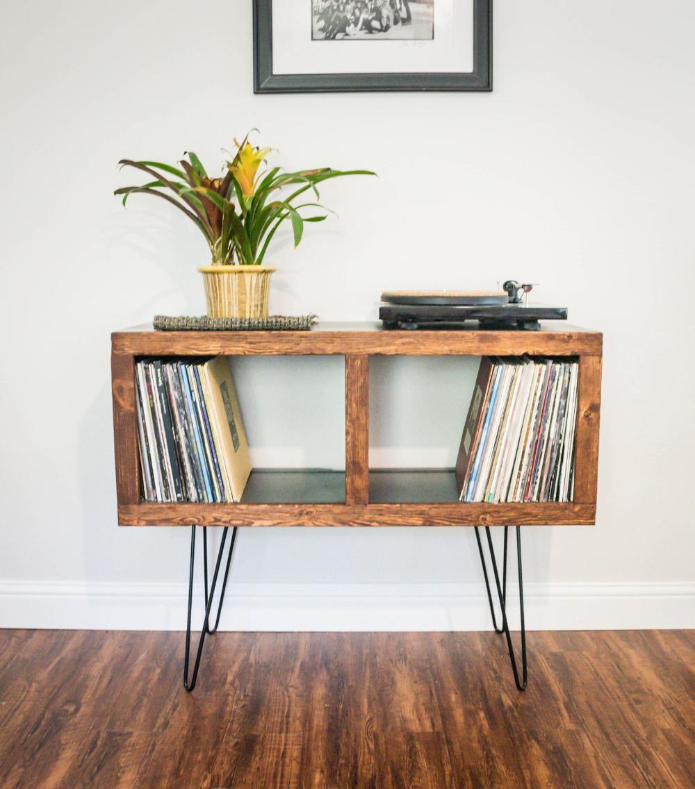 Mid-Century Modern Rustic Media Console & Vinyl Storage Cabinet