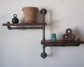 The Original - Single Pole Two Tier Walnut Pipe Shelf