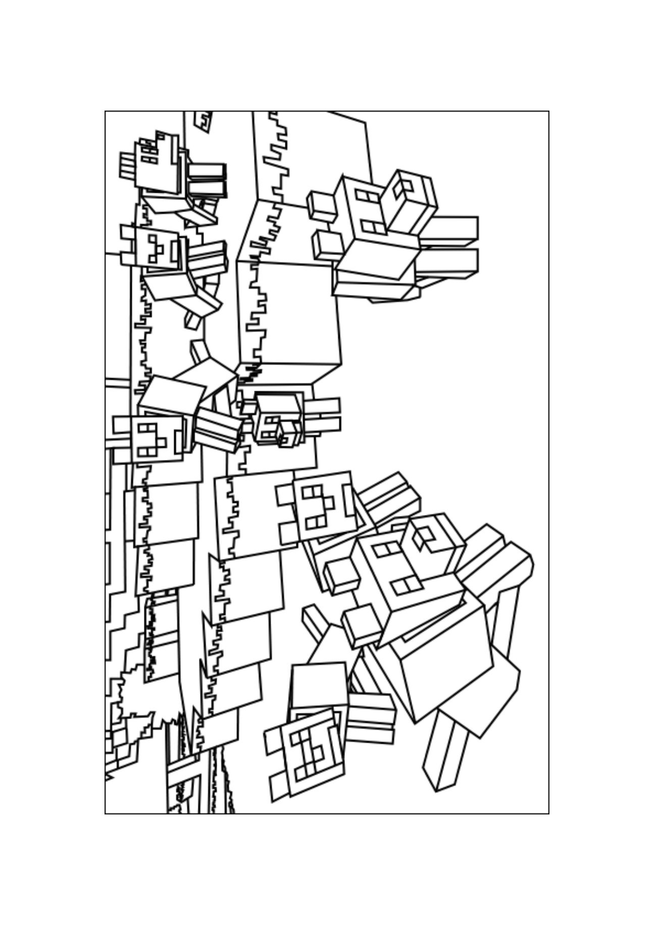 A Minecraft Wolves Coloring Page