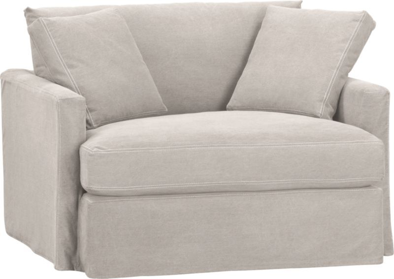 Den Charcoal Denim Lounge Slipcovered Chair And A Half Crate And Barrel Slipcovers For