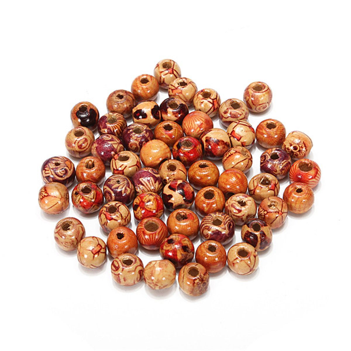 100x Wood Round Bead Spacer Charms from Clever Clad