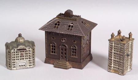 Three Architectural Cast Iron Still Banks
