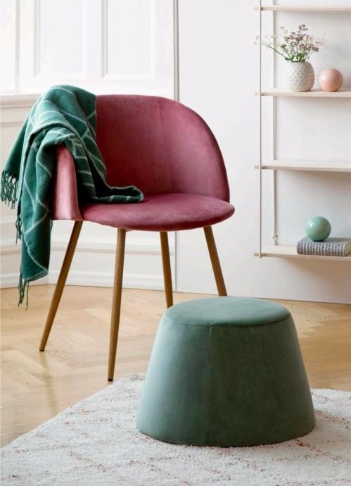 Blush Pink Velour Chair Danish Scandi Design SØstrene Grene Metal Legs Made To Look