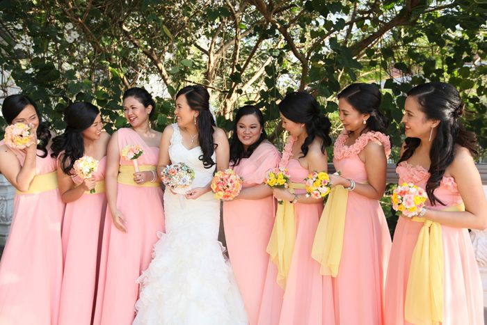 Our Wedding Motif Is Peach And Yellow Beautiful Bridesmaids