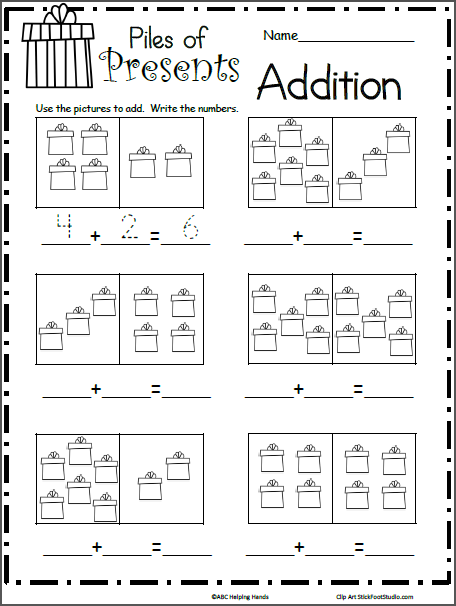 Pile Of Presents Addition Math Worksheet Made By Teachers Christmas Math Worksheets Christmas Math Worksheets Kindergarten Kindergarten Math Worksheets