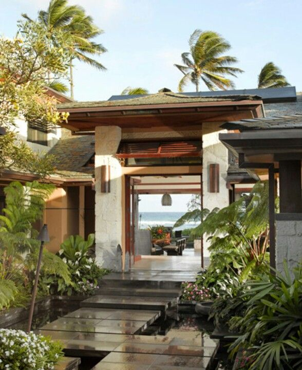 Tropical modern lanai a hint of the tropics pinterest for Tropical architecture house design